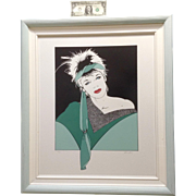 1980's Pinup Pop Art Woman Silkscreen Serigraph Print Large Limited Edition Signed by Artist .