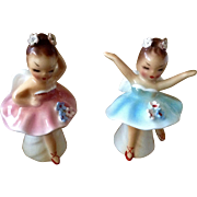 Vintage Salt & Pepper Shakers Ballerina Girl Angels w Rhinestone Flowers in Hair 041 Made in .