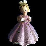 Josef Originals Girl holding a Piece of Cake Lavender Pink Dress Japan Vintage Figurine