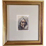 Jesus Tafoya Watercolor Painting Portrait of a Woman Study in Watercolor II, Works on Paper ..