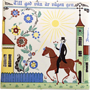 Vintage Swedish Folk Art Decorative Trivet Tile 1960's The Berggren-Shelton-Trayner Corp. A