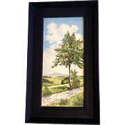 S. Schick, Tree on the Path in Vogtland, Germany Oil Painting on Canvas Laid on ...