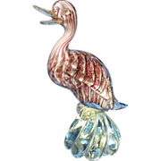 Murano Glass Bird Italian Art Glass  24 K Aventurine Gold Multicolored Duck Figurine Animal