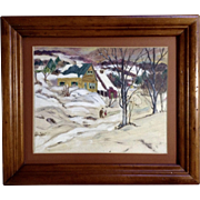 Folk Art Primitive Oil Painting On Artist Panel  A Winters Snow Day Monogrammed by Artist