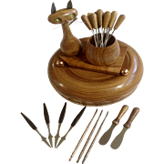 Oliv-art Cat Olive Wood Hors D'oeuvres Appetizer Snack With Utensils Made in Spain ...