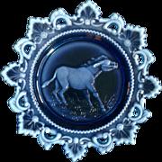 Westmoreland Milk Glass Blue Plate Embossed Donkey Mule in Decorative Rim