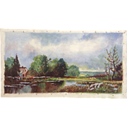 Norine Hernoon Country Pond With Sheep Herders Wagon And Sheep In a Field Watercolor Painting