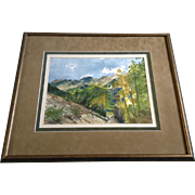 High Mountain Valley With Aspens Changing and Blue Skies Watercolor Painting Art Works on Pape