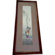 Koho Shoda (1870-1946) Japanese Woodcut Woodblock Art Print Lady Hanging A Tribute Article in