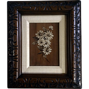 LaPlant, White Daisy Flowers Oil Painting on Canvas Board Made to look like wood background ..