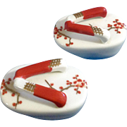 Japanese Geta Sandals Salt & Pepper Shakers with Berry Branches Ceramic 1970's