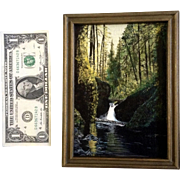Forest with Waterfall Small Oil Painting on Canvas Board Initialed by Artist JM Art