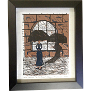 Stefanie Nemmers, Linocut In The Rain Limited Edition Numbered and Signed Print