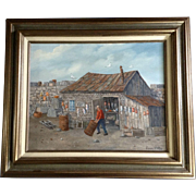Louis F. Pelky (1921-2015) Art Oil Painting, Old Fishing Shack With Lobster Traps and ...