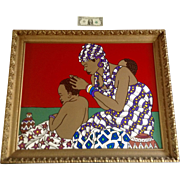 Trevor Romain, Black African Mother and Sons Large Acrylic Painting on Canvas Signed by Artist