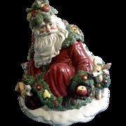 Fitz & Floyd Woodland Santa Cookie Jar Limited Edition 1991 Retired Ceramic