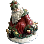 Fitz & Floyd Woodland Santa Cookie Jar Limited Edition 1991 Retired Ceramic