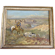 Cowboy Taking his Pack Horses Down to the River, Oil Painting Signed by Artist