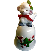 Norcrest Christmas Baby Lamb Bell With Candy Cane Japan Ceramic Figurine