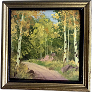 Willard J Page (1885 - 1958) Aspen Dirt Road into the Forest Miniature Oil Painting Signed ...