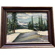 Snowy Mountain Landscape Art Oil Painting on Canvas Board Signed By Artist
