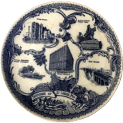 Antique Wheelock Flow Blue Souvenir of St Louis, Mo  England Transfer Ware Plate 1911-1912