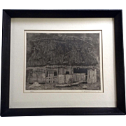 Tanaka Ryohei  (1933 - Present) Ruined House No. 1, 1966 Japanese Etching Limited Edition Prin