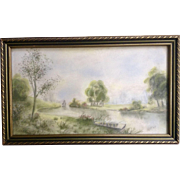 Sailboat on a canal Pastel Drawing 1908 Works on Paper signed by Artist