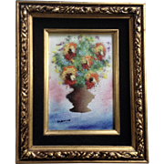Fleming, Enamel On Copper Metal Plate Art Painting Bouquet of Flowers in A Vase Signed ...