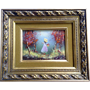 Fleming, Enamel On Copper Metal Plate Art Painting Girl With basket Of Flowers In Forest ...