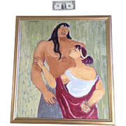 Edith Lake Kruse (1930-2001), Samson And Delilah Oil Painting on Canvas Signed by the ...