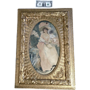 L Walker, 19th Century Watercolor Painting Portrait of a Lady in Pink Dress Works on ...