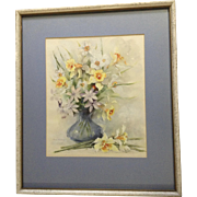Florence A. Kroger (1897 - 1980), Painting, Still Life Floral Vase With Yellow Daffodils, ...