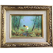 Fleming, Enamel On Copper Metal Plate Art Painting Girl Orange Wildflowers In A Forest Signed