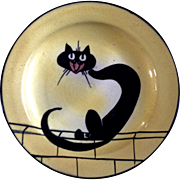 Antique Watcombe Torquay England Black Cat John Barker Extremely Rare Pottery Plate 6""