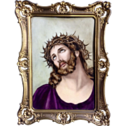 Antique European Icon Jesus Christ Crucifixion Portrait on Porcelain Plaque Hand Painted PPL 1