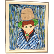 Francois Paris, French Big Eye Boy Mixed Media Painting 1960's Newspaper Decoupage Signed by
