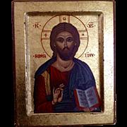 Vintage Byzantine Greek Orthodox Gilded Wood Icon Jesus Christ Print With Certificate