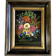 Beautiful Still-life Floral Oil Painting on Canvas Board Initialed by Artist VA 1972 in ...