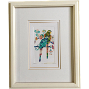 Los Nexos, Two Parrots Limited Edition 114/200 II da. Textured Print Signed by the ...