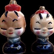 Mama San Vintage Oriental Men Salt & Pepper Shakers Adorable Mid- Century Figurines Japan