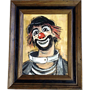 June De Nio Rigler (1921-2011) Clown With Red Nose And Hair, Acrylic Painting Signed ...