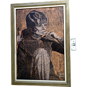 Sharon Carvell, Large Graphite and Pastel Drawing Expressionist Thinking Woman Signed by Liste