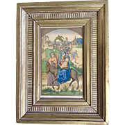 Flight into Egypt, Virgin Mary and Joseph Taking Jesus on a Donkey, Gold Embossed Print ...