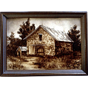 Constance Smith, Landscape Shades of Kansas With Barn, Oil Painting on Board Signed By Well ..