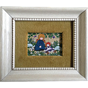 Jo Sickbert Original Primitive Folk Art Gouache Painting on Art Board, Girl With Raggedy Ann .