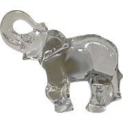Baccarat France Crystal Trunk Up Large Elephant Glass Figurine 1985