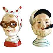 Vintage Sailor & Lady Salt & Pepper Shakers Made in Japan Mid-Century Ceramic Figurines