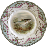 """Antique Carl Tielsch Fish CT Germany Porcelain Luncheon Plate 8-1/2"""" Hand Painted Gold .."""