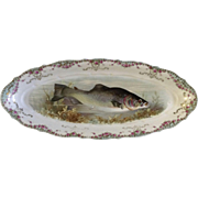 "Antique Carl Tielsch Fish CT Germany Porcelain Serving Platter 21-1/2"" Hand Painted Gold"